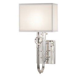 Robert Abbey - Ondine Silver Wall Sconce - Why just light when you can delight? Here, a lavishly detailed base adorned with a crystal orb is balanced by a simple silk shade. Formal, not fussy — a striking addition to your decor.