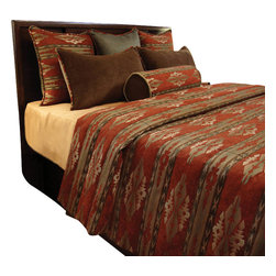 Alpine Coverlet Set, King - This Beautiful Southwestern Chenille pattern is enriched with deep Rust, Forest and Chestnut tones.