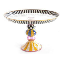 Striped Awning Cake Stand | MacKenzie-Childs - Storybook style that's sunny, smart, and bold. Awning stripes and a garland of roses and greenery, hand-painted on glass, decorate this extraordinarily romantic cake dome, with accents of Courtly Checks, gold lustre, and sprightly dots. Coordinating stand provides a proper pedestal for your finest baked creations.