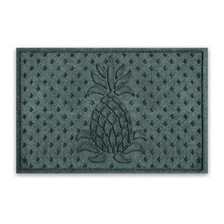Balsam Hill - Balsam Hill StormGuard Doormat - Evergreen Welcome Pineapple - 2' x 3' - The Balsam Hill Welcome Pineapple pattern StormGuard� floor mat keeps your entryways spotless and clean, even in the harshest of weather. Made out of premium synthetic fiber, this tough but elegant floor mat traps moisture, dirt, and dust while resisting everyday wear and tear, mold, and mildew. Our heavy-duty floor mat is able to retain its attractive appearance for many years and it also boasts an absorbency rate of over one gallon per square yard. Fits standard doorways, comes in the color evergreen. Free shipping when you buy today!
