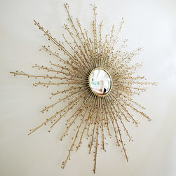 "Global Views - Global Views Berries Mirror Brass - The Global Views Berries mirror captivates with organic style. Growing from its circular center, textured branches elicit glam and golden sophistication. 48"" Dia x 2""D; Brass; Hangs on a keyhole"