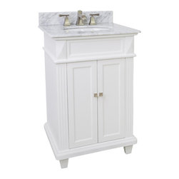 "Hardware Resources - Lyn Design Vanity, White Marble Top - This 24"" wide MDF vanity features a sleek white finish, clean lines and tapered feet to give a modern feel. A perfect alternative to a pedestal sinks. A large cabinet provides storage. This vanity has a 2 cm white marble top preassembled with an H8809WH (15"" x 12"") bowl, cut for 8"" faucet spread, and corresponding 2 cm x 4"" tall backsplash."