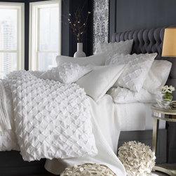 "Horchow - Queen Puckered Diamond Duvet Cover, 95"" x 102"" - A wonderful mix of textures in shades of white. All, imported. Linens with tucked diamond pattern are made of cotton by Home Silks. Dry clean. ""Trellis"" sheet sets feature handmade trellis trim on the flat sheets and pillowcases. Fitted sheets hav..."