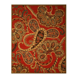 EORC - SHT14RD Red Hand Tufted Wool Red Paisley Rug, 8' x 10' - Hand Tufted Wool Red Paisley Rug