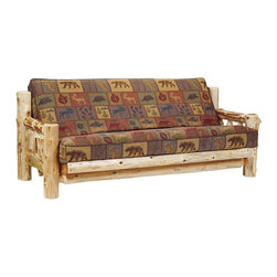 Fireside Lodge Furniture - Cedar Log Futon w 8 in. Inner Spring Mattress - Fabric: Yosemite NaturalCedar Collection. Includes Double size inner spring mattress for superior comfort. Smooth movement on spring metal hinges. Northern White Cedar logs are hand peeled to accentuate their natural character and beauty. Clear coat catalyzed lacquer finish for extra durability. 2-Year limited warranty. 86 in. W x 38 in. D x 35 in. H (200 lbs.)