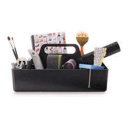 Vitra - Toolbox, Basic Dark - What are the tools of your trade? Whether you need sticky notes and pens, hot glue and sequins, nails and drill bits or muddlers and swizzle sticks at your fingertips, this organizer helps you hold and haul everything in organized style.