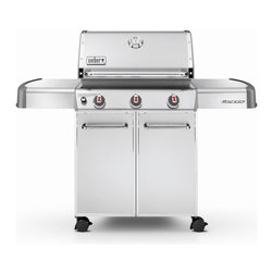 Weber - Weber Genesis S-310 Stainless Steel Gas Grill - Propane - 6550001 - Shop for Grills from Hayneedle.com! Mmmm. You can smell delicious aromas rising from the Weber Genesis S-310 Gas Grill the star of your patio or deck. This attractive gas grill cranks out the power but it also turns heads with its sleek stainless steel exterior. The mobile patio grill features 507 square inches of main cooking space handy side tables three stainless steel burners and a built-in thermometer. Its 7-mm-diameter stainless steel rod cooking grates and stainless steel flavorizer bars make grilling easy and fun. A warming rack brings the total cooking area up to 637 square inches. This grill is fueled by liquid propane and has an electronic crossover ignition. Plus the design of this grill is new and improved with knobs in front instead of on the side. Includes casters. Add on the coordinating grill cover (sold separately) for extra protection. Be careful of those mouth-watering aromas wafting through the neighborhood - your deck soon could be very crowded with hungry neighbors. Weber model number LP 6550001 About Weber GrillsWeber-Stephen Products Co. headquartered in Palatine Ill. is the premier manufacturer of charcoal and gas grills grilling accessories and other outdoor room products. A family-owned business for more than 50 years Weber has become a leading seller of outdoor grills worldwide. Some assembly is required. Weber Grills are shipped with key components already in place and they can be assembled in less than 30 minutes.