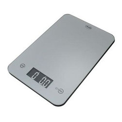 """American Weigh Scales - Thin Digital Kitchen Scale Silver - ONYX Silver Kitchen Scale from American Weigh features a modern black glass and plastic construction. The touch activated keys also make for an elegant and clean design. With the back-lit reverse LCD display weighing is quick and easy. Fluid ounce and milliliter modes for liquid measurement Super thin - only 0.6"""" tall 4 high precision G-Force Load Sensors Powered by 2 long-life lithium batteries (CR2032)."""
