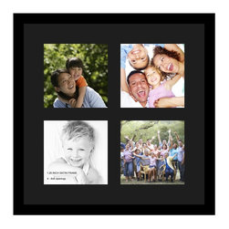 ArtToFrames - ArtToFrames Collage Photo Frame  with 4 - 8x8 Openings and Satin Black Frame - Your one-of-a-kind photos deserve one-of-a-kind frames, but visiting a custom frame shop can be time consuming and expensive. ArtToFrames extensive and growing line of inexpensive multi opening Photo Mats will get you the look you want at a price you can afford. Our Photo Mats come in a variety of sizes and colors and can be custom made to your needs. Frame choices range from traditional to contemporary, with both single and multiple photo opening mat options. With our large selection of custom frame and mat choices, the design possibilities are limitless. When you're done, you'll have a unique custom framed photo that will look like you spent a fortune at a frame shop. Your frame will be delivered directly to your front door or sent as a gift straight to your recipient.