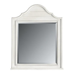 Stanley - Coastal Living Retreat Arch Top Mirror, Saltbox White - Wood slats, curved moldings and inset beveled glass. Hard to believe its brand new.