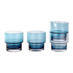 Contemporary Glass - Set of 4, Blue - To satisfy all the sipping needs, we created this set of four stack glasses, a reliable choice with conscientious curves. Featuring everyday-sturdy construction and a rounded lip, each one is mouth blown and stacks neatly to save you cabinet space. They're smart, they're stylish—so you don't need to think before you drink. Just add water (or juice, or whatever satisfies your thirst).