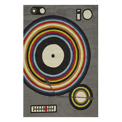 Momeni - Momeni Lil Mo Hipster Lmt12 Grey Rug - Lmotwlmt12Gry80A0 - The ultra-hip elements are captured to make 'Lil Mo Hipster the ultimate 'tween collection. Comic book inspired waves, bold millifleur and edgy skaters adorn these hand-tufted mod-acrylic pieces. A funky use of color makes these the perfect complement to any up and coming hipster's decor!
