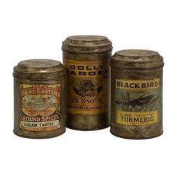 Addie Vintage Label Metal Canisters - Set of 3 - Set of three antiqued metal canisters each with a distinctive vintage label.