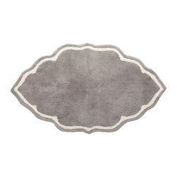 John Robshaw Gray Bath Mat - Tufted, hand cut mats in a fun shape are perfect for stepping out of your shower.
