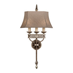 Fine Art Lamps - Villa Vista Sconce, 808450ST - This elegant three-arm sconce boasts a painted driftwood finish accented with silver leaf. The matching shade is hand-sewn from linen, its tapered lines complementing the fixture's rich appointments and sterling craftsmanship.