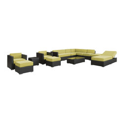 Modway - Modway EEI-722 Fusion 12 Piece Sectional Set in Espresso Peridot - Harmonious positioning lends grace to every gathering with this sprawling outdoor sectional set. Commingle as participants contribute individual strengths to combine into a collective powerhouse of perfection. Turn your surroundings into a sought after meeting place in this consummate arrangement of beauty.