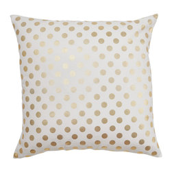 "Caitlin Wilson Textiles - Gold Dot Pillowcase, 16""x26"" - A classic gold dot will make any space pop!"