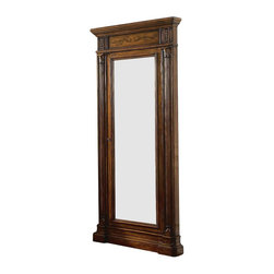 Hooker - Hooker Furniture Seven Seas Floor Mirror with Jewelry Armoire Storage - This floor mirror is a great way to decorate a bedroom and use as a convenient jewelry armoire. It is constructed of hardwood solids, cherry veneers and is hand painted with a dark brown mocha finish. It is richly carved with a breakfront base an fluted pilasters. It attaches to wall for stability. The interior contains two shelves, ring storage, pouches with Velcro and hooks for necklaces. A great place to check your final look before you head out and add those last minute accessories from your convenient armoire space.