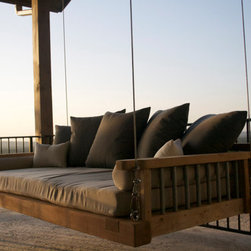 Industrial Envy Swing Bed (twin) - Swing bed suspended by galvanized steel cable.  Includes twin size outdoor mattress and pillows.  Many customization options are available.