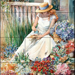 The Tile Mural Store (USA) - Tile Mural - Flower Girl - Kitchen Backsplash Ideas - This beautiful artwork by Jerianne Van Dijk has been digitally reproduced for tiles and depicts a young lady sitting on her porch looking through a memory box amonst spring flowers.  This garden tile mural would be perfect as part of your kitchen backsplash tile project or your tub and shower surround bathroom tile project. Garden images on tiles add a unique element to your tiling project and are a great kitchen backsplash idea. Use a garden scene tile mural for a wall tile project in any room in your home where you want to add interesting wall tile.