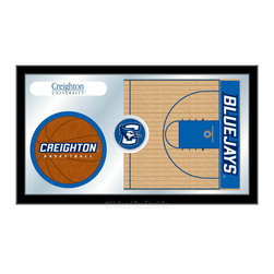 "Holland Bar Stool - Holland Bar Stool Creighton Basketball Mirror - Creighton Basketball Mirror belongs to College Collection by Holland Bar Stool The perfect way to show your school pride, our basketball Mirror displays your school's symbols with a style that fits any setting.  With it's simple but elegant design, colors burst through the 1/8"" thick glass and are highlighted by the mirrored accents.  Framed with a black, 1 1/4 wrapped wood frame with saw tooth hangers, this 15""(H) x 26""(W) mirror is ideal for your office, garage, or any room of the house.  Whether purchasing as a gift for a recent grad, sports superfan, or for yourself, you can take satisfaction knowing you're buying a mirror that is proudly Made in the USA by Holland Bar Stool Company, Holland, MI.   Mirror (1)"