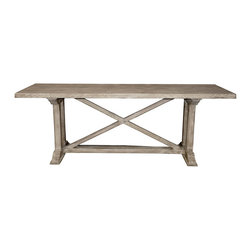 X-Console with a Medium Antique Painted Finish - Complete a wall in your home with a handsome traditional trestle table hand-crafted in console dimensions from artisan-finished reclaimed wood. The X-Console has a crossed stretcher resting on a horizontal trestle bar to support the simple rectangular tabletop and to enhance the rustic beauty of this sturdy surface, filling the space beneath the table. Its classic shape and quiet tones take on life as a backdrop to your most cherished treasures.