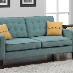 None - Jackie Aqua Sofa with French Yellow Button Pillow - Add style to the home with this mid-century inspired design composed from a durable construction of metal with medium walnut finish wood. The retro shape and soft aqua colored fabric create an updated vintage feel.