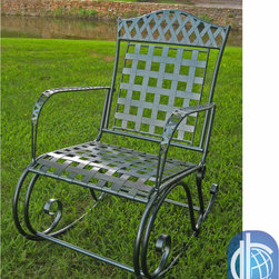 International Caravan - International Caravan Milano Green Hammered Iron Rocker - Enjoy a relaxing moment in your garden or patio with this beautiful wrought iron rocking chair by Milano. This outdoor furniture is made of sturdy iron and finished with double powder coating to make sure that it remains rustproof and weatherproof.