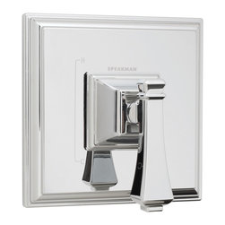 Speakman - Speakman Rainier Collection Pressure Balance Valve Trim in Polished Chrome - Think outside of the box with the prominent square contours of Speakman's Rainier Pressure Balance Valve Trim. The unique, sharp borders of this square trim team with other distinct members of the Rainier Collection to provide a bold update to your current bathroom decor. This modern valve trim is available in Speakman's signature Polished Chrome finish to effortlessly fuse with your bathroom's existing fixtures and decor. The Rainier valve trim is designed to combine with Speakman Pressure Balance Valves to provide the ultimate luxury bathing experience. The Speakman Rainier Pressure Balance Valve Trim features a metal valve handle, durable plastic plating and includes mounting plate and hardware.