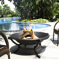 Crosley Furniture - Ashland Fire Pit - Cast iron construction. Oversized bowl for longer and warmer fires. Sturdy legs. Durable copper finish. Steel poker to keep your fire stoked. Steel mesh fire cover. Easy to assemble. 22 in. L x 40.5 in. W x 40.5 in. H ( 22 lbs.)Become delighted as this exquisite fire pit allows you to bring the best of the indoors outside.  This high temperature rated steel is made to handle multiple pieces of wood for many fun filled nights by the fire for years to come.