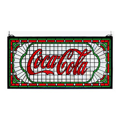 """Meyda Tiffany - Meyda Tiffany 106233 Rectangular Victorian Web Stained Glass Window Coc - *One of the most recognizable and iconic symbols of our time """"Coca - Cola"""" a true American original has teamed up with another true American original """"Meyda Tiffany"""" to offer these beautiful one of a kind stained glass windows"""