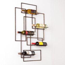 Upton Home - Upton Home Carlisle Wall Mount Wine Sculpture - This Upton Home wine storage wall sculpture features a modern,geometric design of interconnecting rectangles and displays five treasured wine bottles in functional wall art. The clean lines and open,burnished metal finish frame complements most homes.