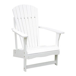 """Lamps Plus - Coastal White Poplar Wood Adirondack Chair - A classic addition to summery weather this Adirondack chair beckons a warm sunny day an umbrella-dressed cocktail and the sounds of splashing in the pool. Sturdy white polyurethane finish makes it perfect for outdoor patios and seating areas. Solid wood construction. 37 1/2"""" high. 28 1/4"""" wide. 34"""" deep.  White polyurethane finish.   Solid wood construction.   37 1/2"""" high.   28 1/4"""" wide.   34"""" deep."""