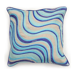 Villa Home - Matisse Blue Pillow - Jump into the smooth waves of perfection and drift into serenity with our Matisse Blue Pillow.  Each handcrafted down filled pillow is embroidered in a symphony of blues that indulge the senses.