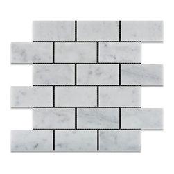 "Tiles R Us - Carrara White Marble Honed 2X4 Subway Brick Mosaic Tile, Box of 5 Sq. Ft. - - Italian Carrara White Marble 2"" X 4"" Honed (Matte Finish) Subway Brick Mosaic Tile."