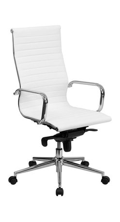 Flash Furniture - Flash Furniture High Back Ribbed Leather Office Chair in White - Flash Furniture - Office Chairs - BT9826HWHGG - This elegant office chair will add an upscale appearance to your office. The comfort molded seat has built-in lumbar support and features a locking tilt mechanism for a mid-pivot knee tilt. This chair features dual paddle controls to easily adjust your chair and an integrated bar in the back to keep your jacket within reach. If you're looking for a modern office chair that provides a sleek look then the Ribbed Upholstered Leather Office Chair by Flash Furniture delivers.