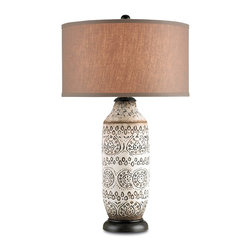 Currey and Company - Intarsia Table Lamp - Beautiful terracotta lamp in a antique brown. The lamp can be used in a traditional as well as transitional settings. The shade is a natural linen.