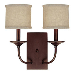 Capital Lighting - Capital Lighting 1982-468 Loft 2 Light Sconce - with Fabric Shades - Capital Lighting 2 Light Sconce from the Loft CollectionFeatures: