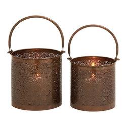 Stunning Metal Candle Lantern, Set of 2 - Description: