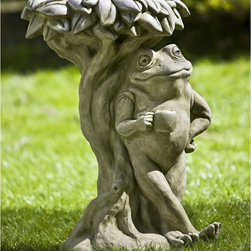Campania International - Campania International Break Time Frog Cast Stone Garden Statue - B-134-AL - Shop for Statues and Sculptures from Hayneedle.com! About Campania InternationalEstablished in 1984 Campania International's reputation has been built on quality original products and service. Originally selling terra cotta planters Campania soon began to research and develop the design and manufacture of cast stone garden planters and ornaments. Campania is also an importer and wholesaler of garden products including polyethylene terra cotta glazed pottery cast iron and fiberglass planters as well as classic garden structures fountains and cast resin statuary.Campania Cast Stone: The ProcessThe creation of Campania's cast stone pieces begins and ends by hand. From the creation of an original design making of a mold pouring the cast stone application of the patina to the final packing of an order the process is both technical and artistic. As many as 30 pairs of hands are involved in the creation of each Campania piece in a labor intensive 15 step process.The process begins either with the creation of an original copyrighted design by Campania's artisans or an antique original. Antique originals will often require some restoration work which is also done in-house by expert craftsmen. Campania's mold making department will then begin a multi-step process to create a production mold which will properly replicate the detail and texture of the original piece. Depending on its size and complexity a mold can take as long as three months to complete. Campania creates in excess of 700 molds per year.After a mold is completed it is moved to the production area where a team individually hand pours the liquid cast stone mixture into the mold and employs special techniques to remove air bubbles. Campania carefully monitors the PSI of every piece. PSI (pounds per square inch) measures the strength of every piece to ensure durability. The PSI of Campania pieces is currently engin