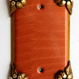 Susan Goldstick, Inc. - Painted wall receptacle cover coral - Bloomer single blank  wall switch cover hand painted in copper orange  with Swarovski olivine crystal accents. Bloomer floral light wall plates are available in multiple configurations and color schemes.