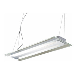 ET2 Lighting - ET2 Lighting-E22123-24AL-Contempra - Two Light Pendant - This trestle Contempra collection features thick Clear/White glass plates with polished edges accented by Brushed Aluminum finish. The fluorescent light source assures energy saving operation and the cable-suspension system of the pendants add to the contemporary flare. Perfect for the kitchen island or the well-designed workspace.