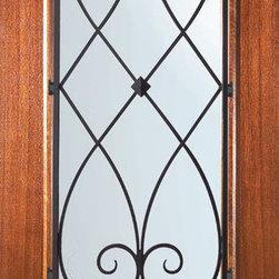 """Prehung Sidelights-Transom Door 80 Mahogany Charleston 3/4 Lite - Low-E Tempered Double Glazed French Mahogany Wood Classic 1 Panel Front Sidelights-Transom Door Wrought 80"""" Tall Wind-load Rated FSC SFI"""