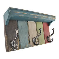 Zeckos - Vintage Look Multicolored Wooden Wall Plaque with Metal Hooks/Shelf - This wooden shelf with metal hooks is a practical accent to your home decor. The hooks are perfect for hanging hats, coats, dog leashes, and bags, while the shelf is great for sunglasses, phones, wallets, or anything else you might grab on the way out. This piece measures 15 3/4 inches long, 8 1/2 inches high, 4 inches deep, and has a wonderfully distressed finish. It easily mounts to the wall with 2 nails or screws by the hangers on the back, and makes a great gift for a friend.