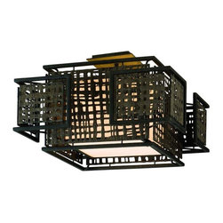 Pre-owned Corbett Shoji Ceiling Fixture - This Corbett Shoji Ceiling Fixture is featured in a Bonsai breeze finish.  Made of hand crafted iron with Handmade Japanese paper and a textured pearl diffuser. Takes two 60 watt candelabra bulbs. Used once for a staging job, so it's practically brand new!