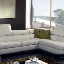 italydesign studios - Como Sectional Sofa - Leather with polyurethane foam filling. Metal feet.