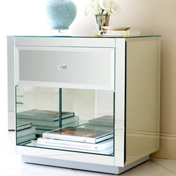 """""""Hannah"""" Mirrored Chest - The """"Hannah"""" Mirrored Chest is functional and oh, so glamorous with its mirrored front.  It has a single drawer with a cutout shelf beneath for storing books or treasured collectibles. 26""""W x 18""""D x 26""""T"""