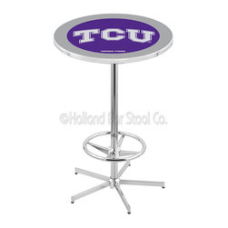 Holland Bar Stool - Holland Bar Stool L216 - 42 Inch Chrome Tcu Pub Table - L216 - 42 Inch Chrome Tcu Pub Table  belongs to College Collection by Holland Bar Stool Made for the ultimate sports fan, impress your buddies with this knockout from Holland Bar Stool. This L216 TCU table with retro inspried base provides a quality piece to for your Man Cave. You can't find a higher quality logo table on the market. The plating grade steel used to build the frame ensures it will withstand the abuse of the rowdiest of friends for years to come. The structure is triple chrome plated to ensure a rich, sleek, long lasting finish. If you're finishing your bar or game room, do it right with a table from Holland Bar Stool.  Pub Table (1)