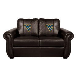 Dreamseat Inc. - West Virginia University NCAA Chesapeake Brown Leather Loveseat - Check out this Awesome Loveseat. It's the ultimate in traditional styled home leather furniture, and it's one of the coolest things we've ever seen. This is unbelievably comfortable - once you're in it, you won't want to get up. Features a zip-in-zip-out logo panel embroidered with 70,000 stitches. Converts from a solid color to custom-logo furniture in seconds - perfect for a shared or multi-purpose room. Root for several teams? Simply swap the panels out when the seasons change. This is a true statement piece that is perfect for your Man Cave, Game Room, basement or garage.