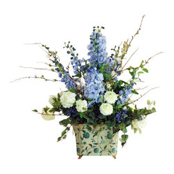 Winward Designs - Delphinium Snowball In Blue Tin Flower Arrangement - You won't have to wait for spring to enjoy this bright bouquet of delphiniums and snowballs. The cheerful combination will last for years, adding a touch of country chic to your home with a beautiful porcelain pot. Place it on your kitchen counter or breakfast table for a fresh-from-the-garden look all year long.
